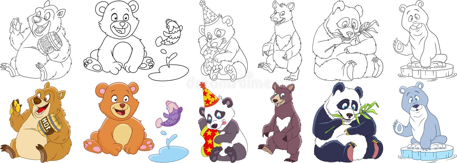 Cartoon bear panda set royalty free stock image