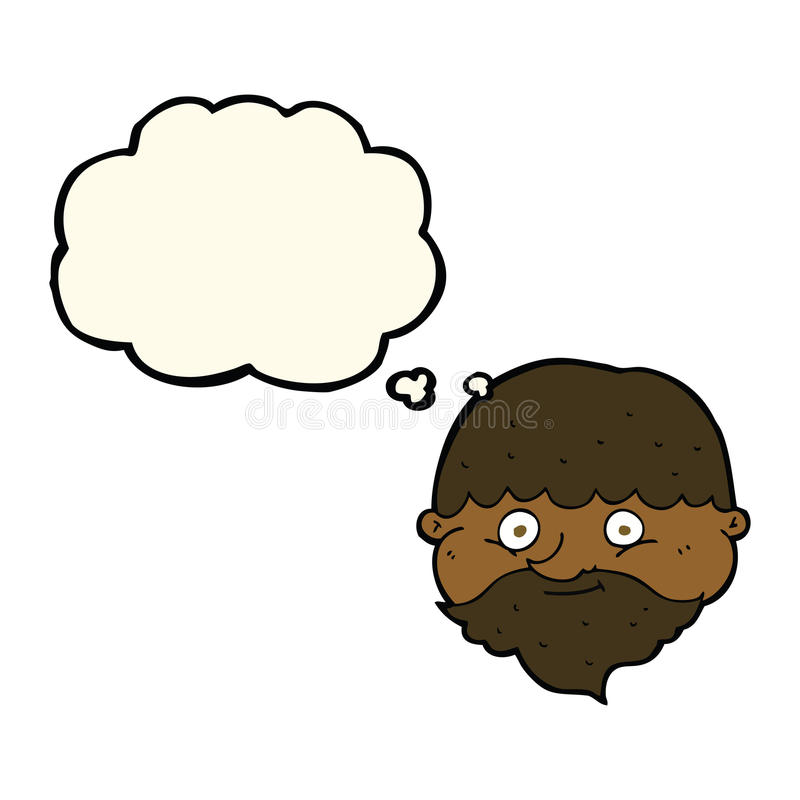 Cartoon bearded man with thought bubble vector illustration