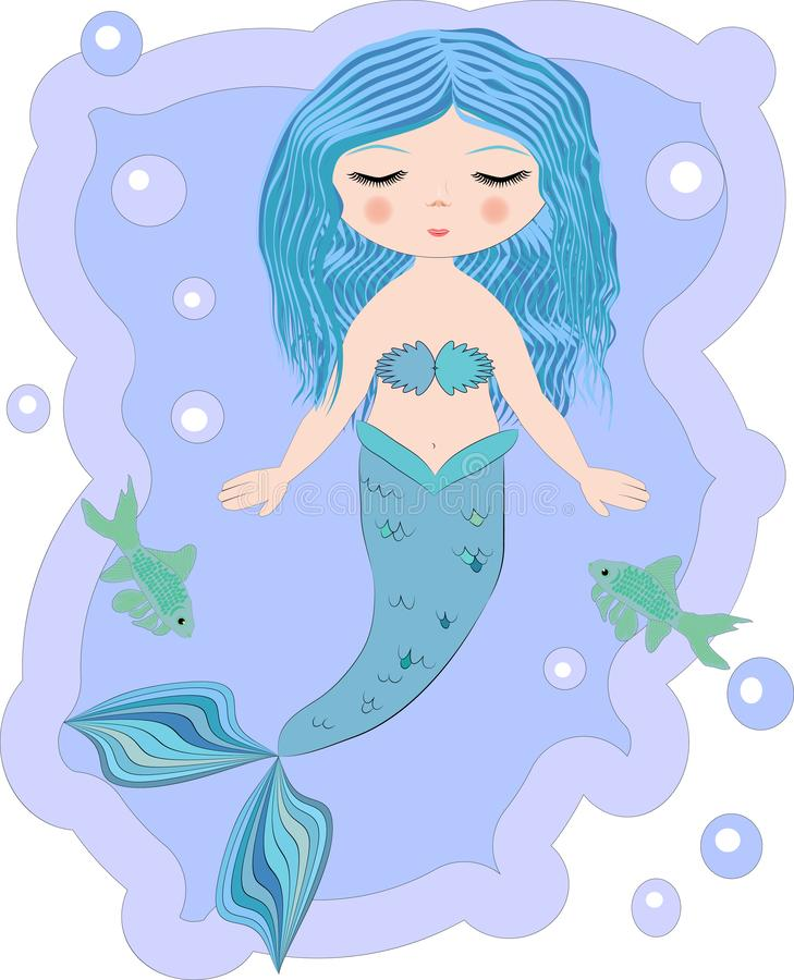 Cartoon beautiful little mermaid in a wreath. Siren. Sea theme. Cartoon, cute little mermaid, sea princess, siren, with blue hair, closed eyes and forked tail stock photos