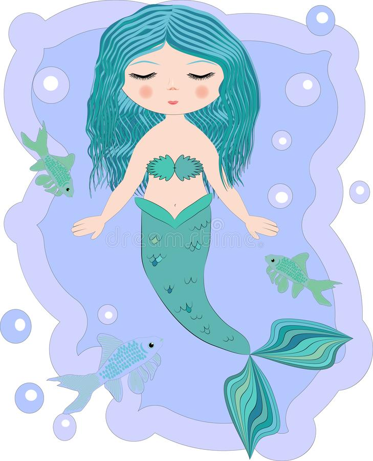 Cartoon beautiful little mermaid in a wreath. Siren. Sea theme. Cartoon, cute little mermaid, sea princess, siren, with blue hair, closed eyes and forked tail stock images
