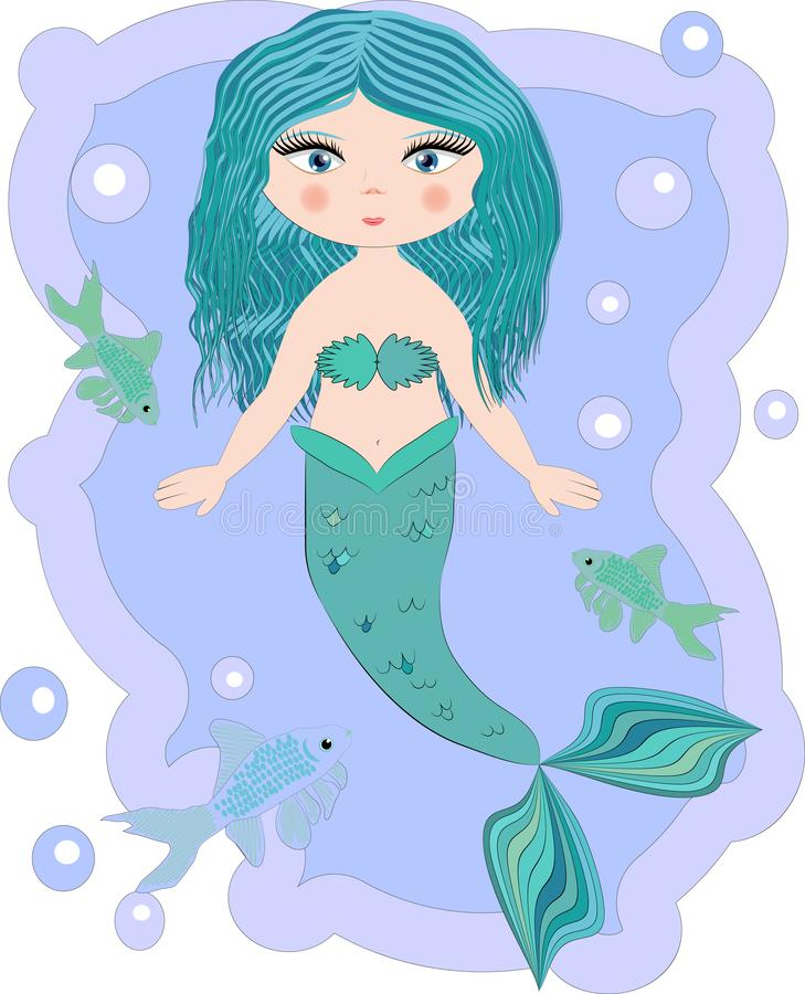 Cartoon beautiful little mermaid in a wreath. Siren. Sea theme. Cartoon, cute little mermaid, sea princess, siren, with blue hair, open eyes and a forked tail stock photos