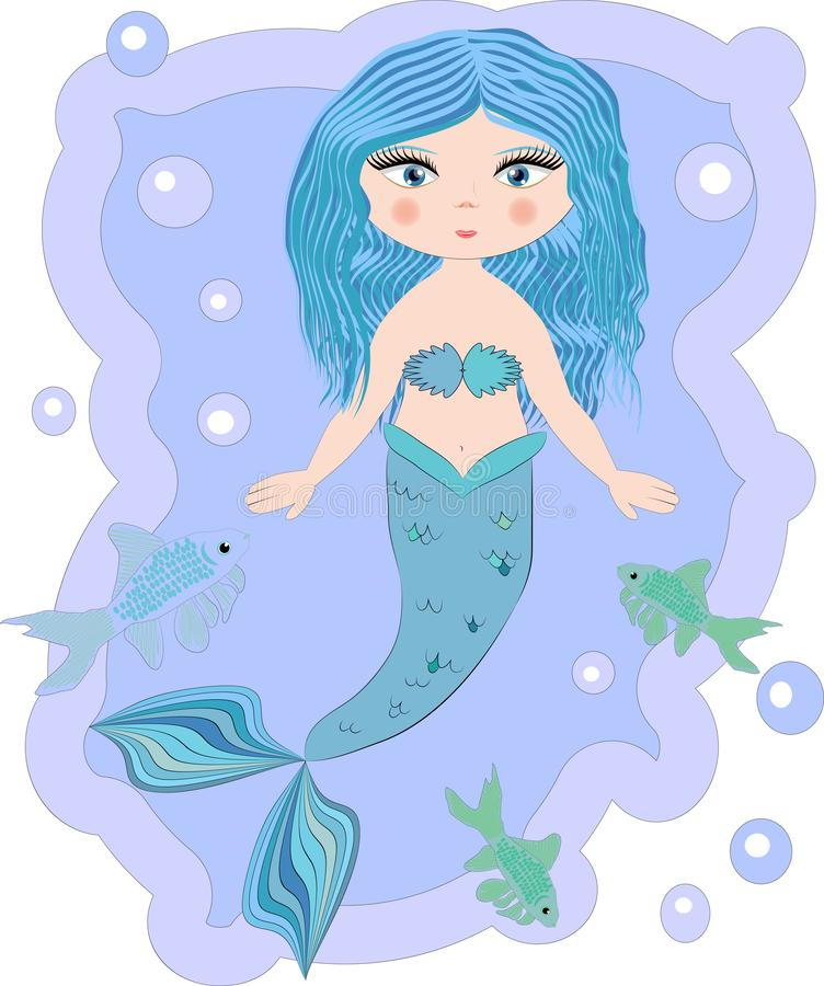 Cartoon beautiful little mermaid in a wreath. Siren. Sea theme. Cartoon, cute little mermaid, sea princess, siren, with blue hair, open eyes and a forked tail royalty free stock photography