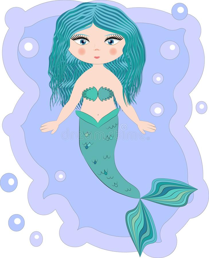 Cartoon beautiful little mermaid in a wreath. Siren. Sea theme. Cartoon, cute little mermaid, sea princess, siren, with blue hair, open eyes and a forked tail stock photography