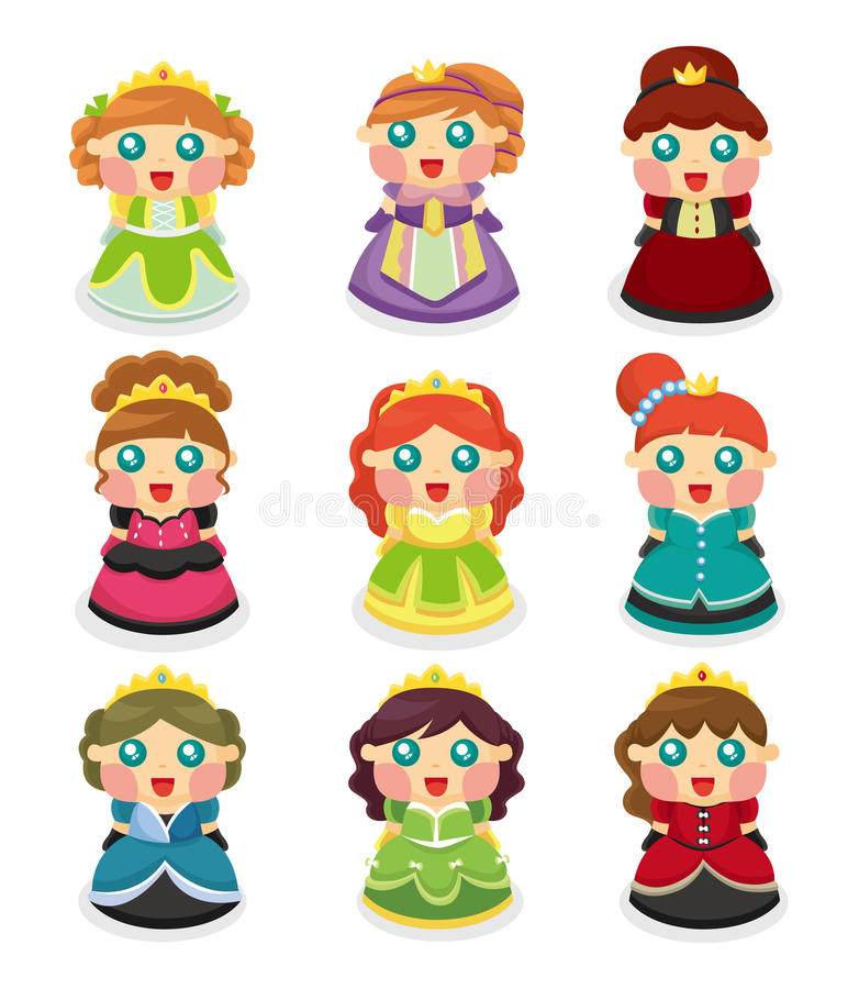 Cartoon beautiful princess icons set. Vector,illustration vector illustration