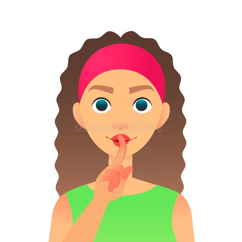 Cartoon beautiful woman saying hush be quiet with finger on lips gesture. Flat secret girl. Female silent gesture with royalty free illustration