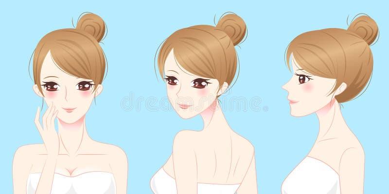 Cartoon beauty skincare woman royalty free illustration