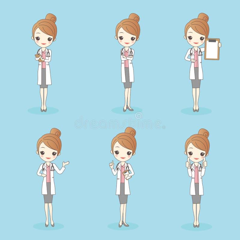 Cartoon beauty woman doctor stock illustration