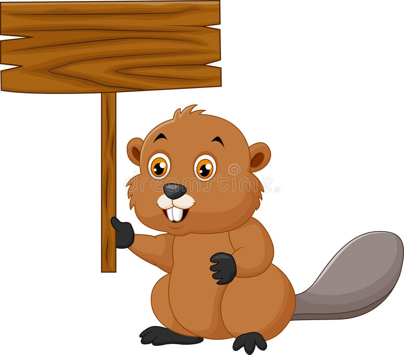 Cartoon beaver holding blank sign stock illustration
