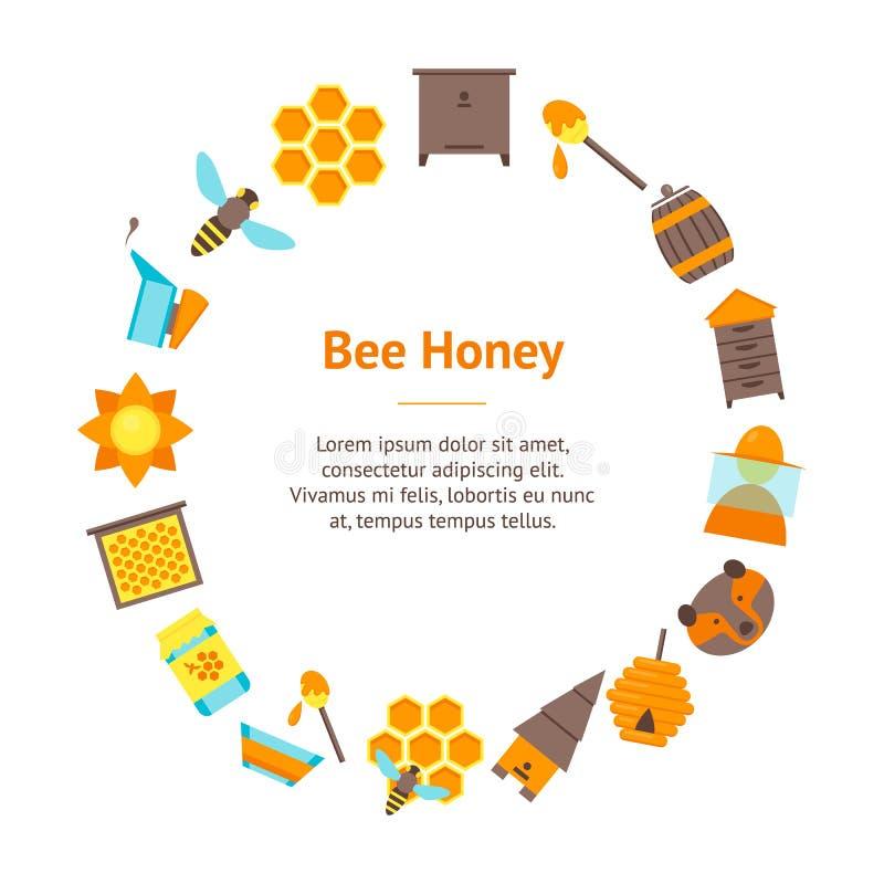 Cartoon Bee Banner Card Circle. Vector stock illustration