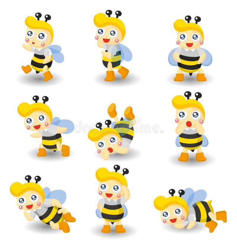 Cartoon bee boy icon set vector illustration