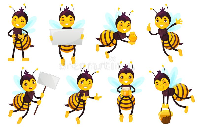 Cartoon bee character. Bees honey, flying cute honeybee and funny yellow bee mascot vector illustration set stock illustration
