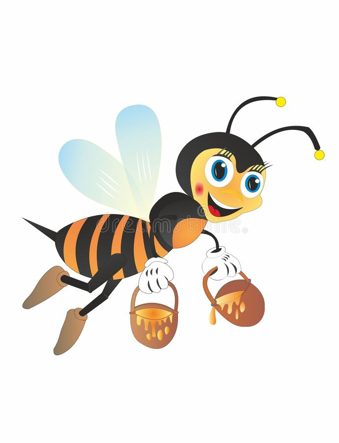 Cartoon bee collect honey. Many types of insects collect honey, for example: bumblebees, wasps, hornets. But the bees of them are the most famous. Most of the stock illustration