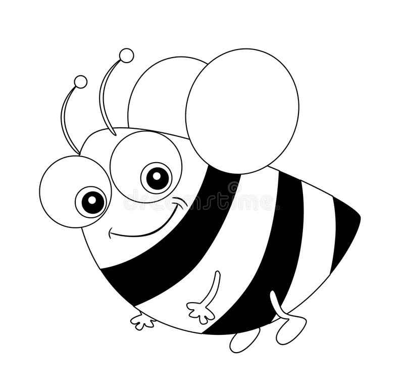 Cartoon bee flying - coloring page - isolated royalty free illustration