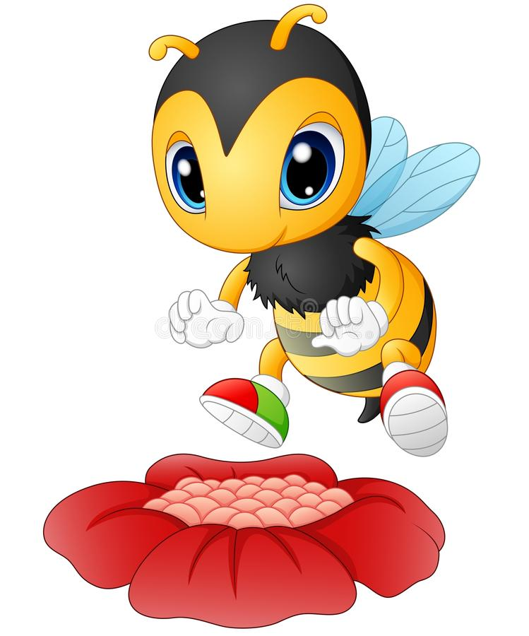 Cartoon bee happy to see the flower vector illustration