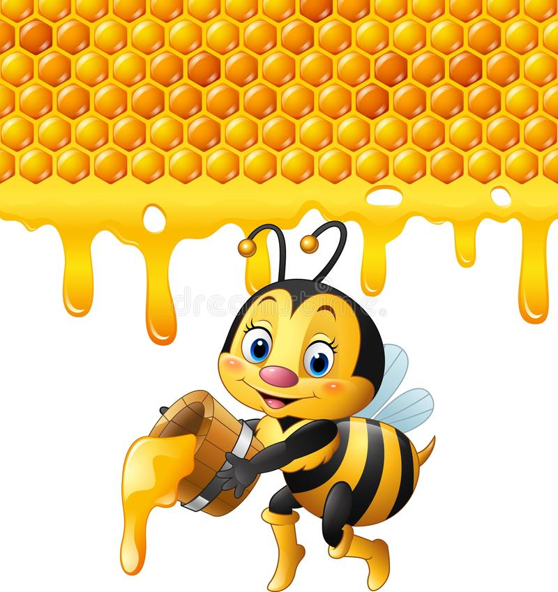 Cartoon bee holding bucket with honeycomb and honey dripping royalty free illustration