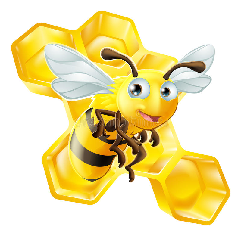 Cartoon Bee and Honey Comb royalty free illustration
