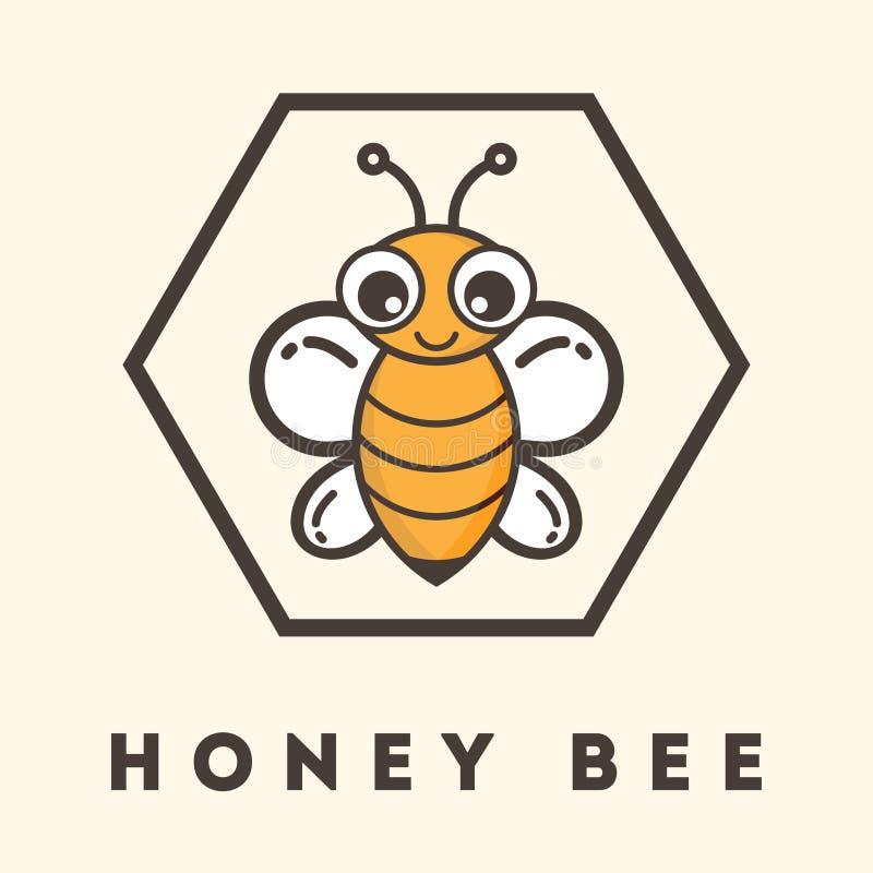 Cartoon bee label. Vector image of a cartoon bee label vector illustration