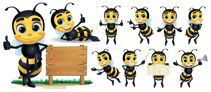 Cartoon Bee Mascot Character vol. 2 royalty free illustration