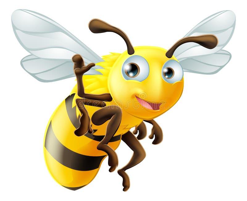 Cartoon Bee Waving stock illustration