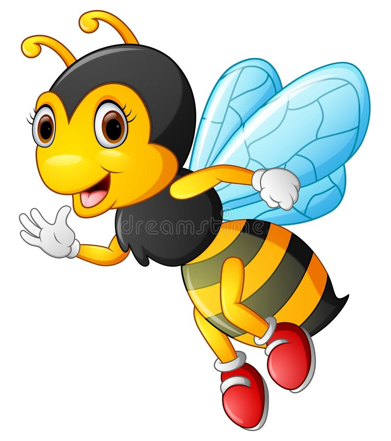Cartoon bee waving hand vector illustration