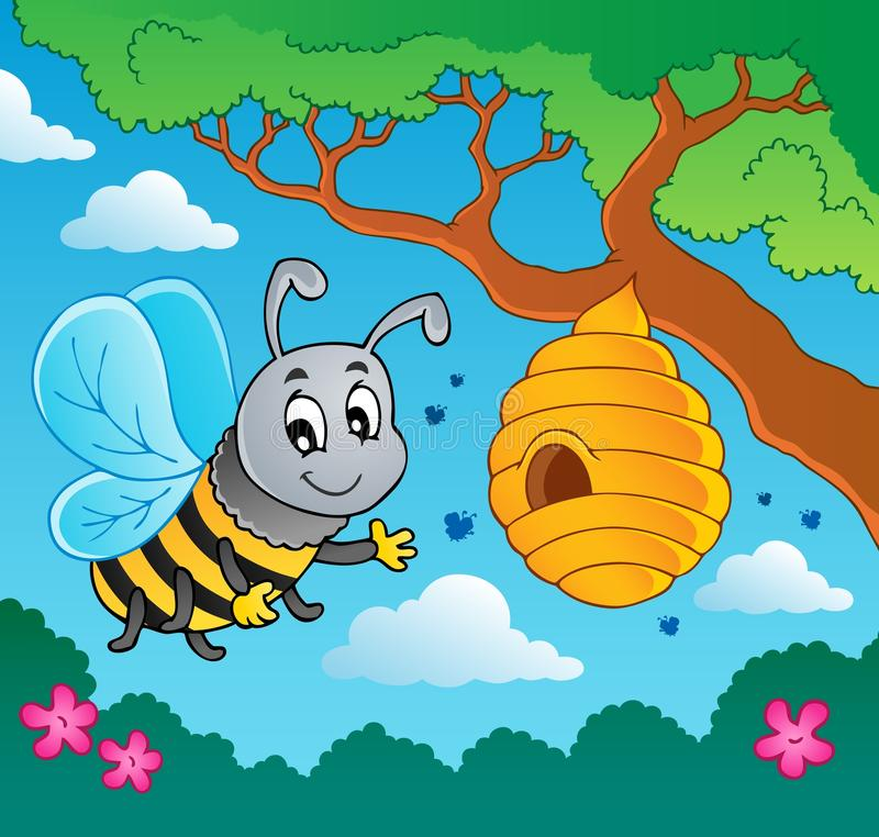 Free Cartoon Bee With Hive Stock Photos - 25544253