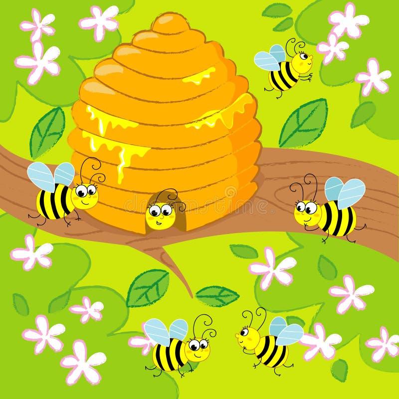 Download Cartoon beehive stock vector. Image of flying, honey - 17788591
