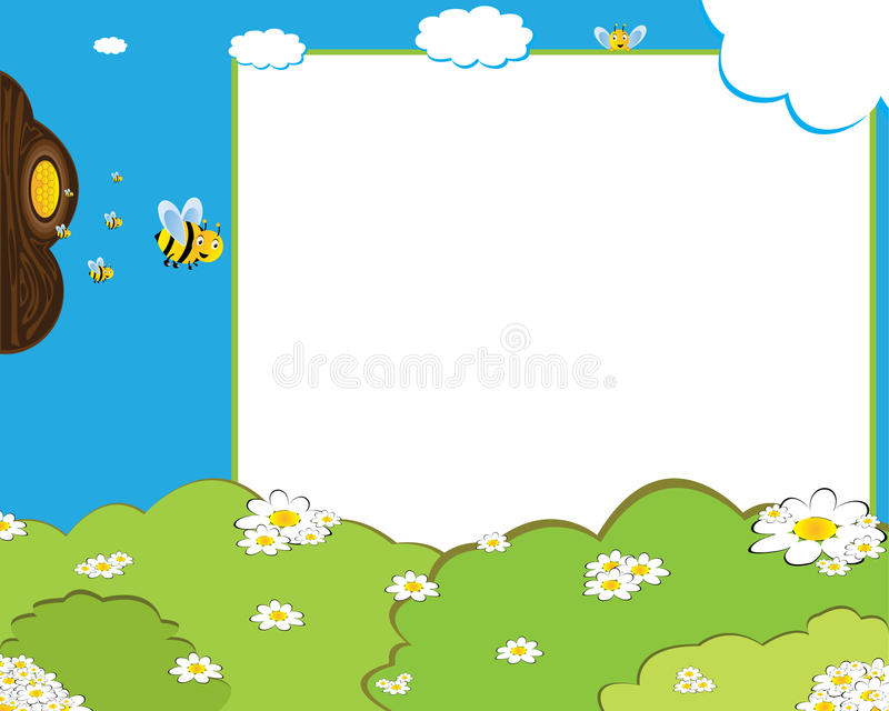 Cartoon bees photo frame vector illustration