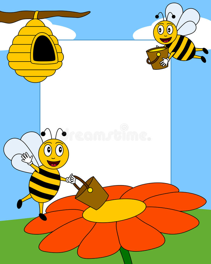 Cartoon Bees Photo Frame [2]. Photo frame, post card or page for your scrapbook. Subject: two happy cartoon bees reaching a flower and carrying honey to the