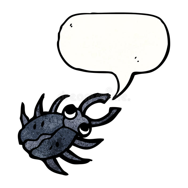 Cartoon beetle with speech bubble. Retro cartoon with texture. Isolated on White royalty free illustration