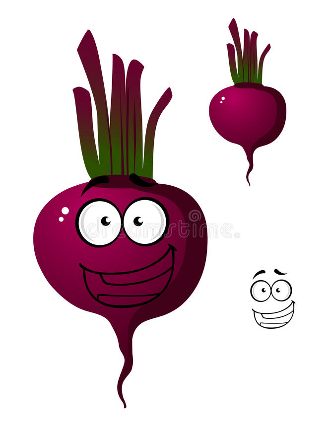 Cartoon beetroot vegetable character. Cartoon smiling beetroot or beet vegetable cute character. with purple, crimson and violet colored isolated on white royalty free illustration