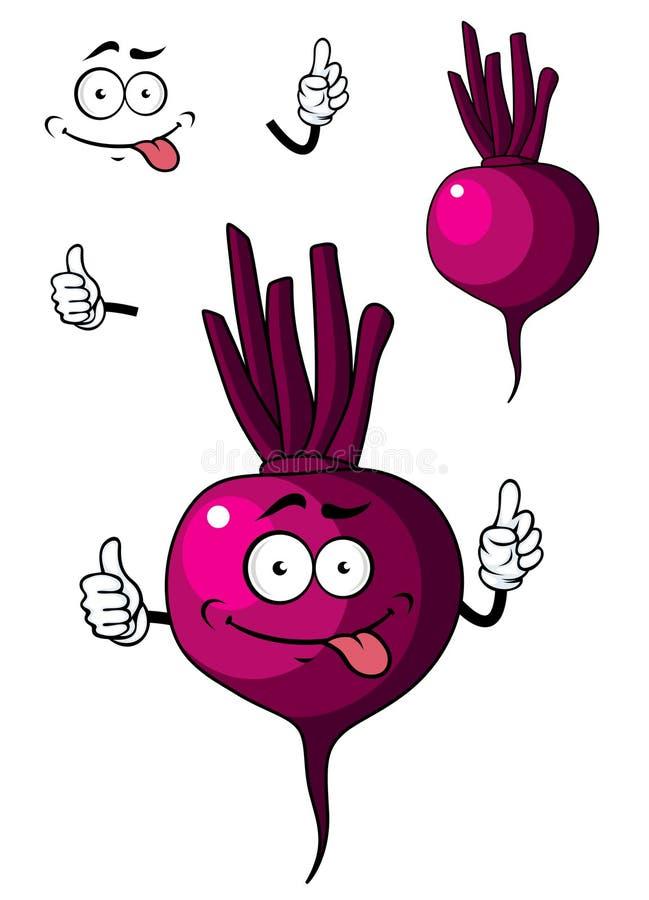 Cartoon beetroot vegetable. Cute little purple cartoon beetroot vegetable with a happy face for healthy food concept isolated on white royalty free illustration