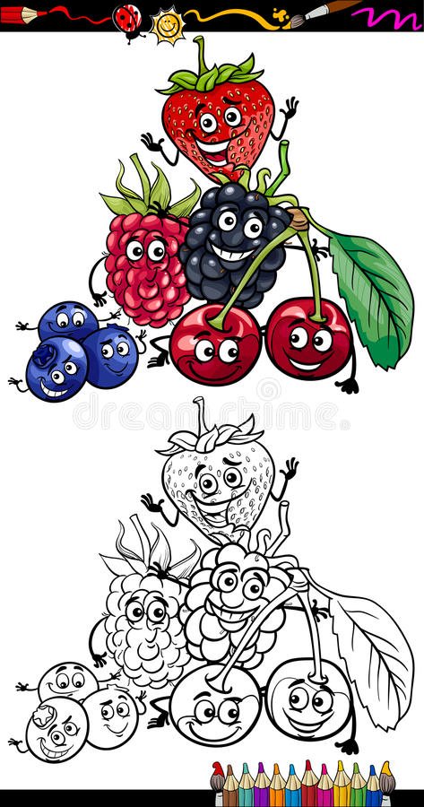 Download Cartoon Berry Fruits For Coloring Book Stock Vector - Image: 32034724
