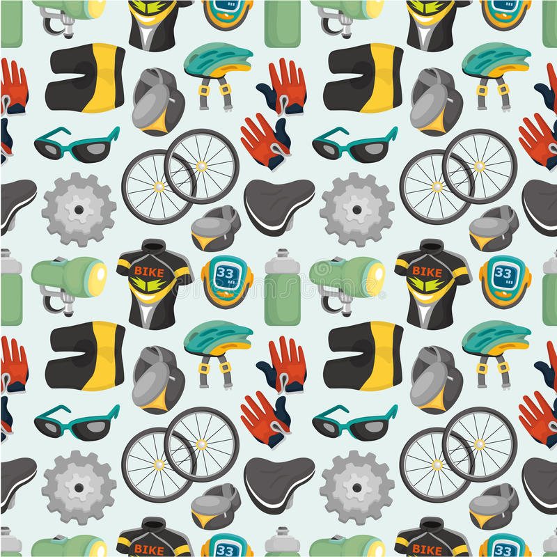Download Cartoon Bicycle Equipment Seamless Pattern Stock Illustration - Image: 19673143