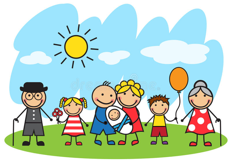 Download Cartoon Big Family Standing On The Lawn Stock Illustration - Image: 36642130