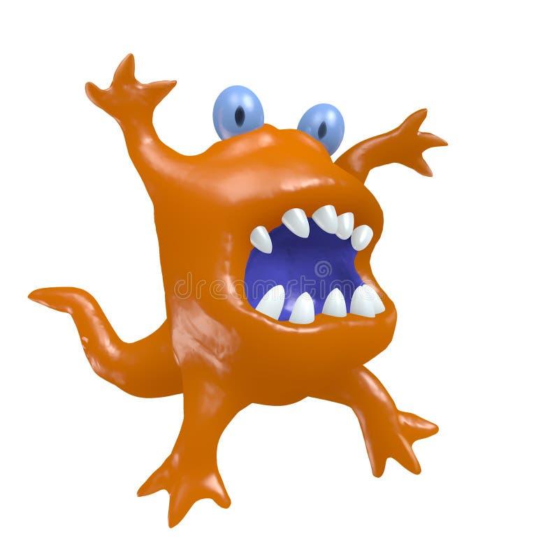 Cartoon big head orange monster. 3D illustration. Cartoon monster big head. 3D illustration. Funny cute emoticon orange character royalty free illustration