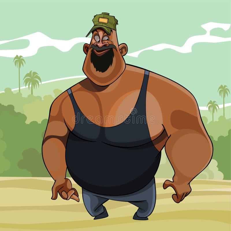 Cartoon big joyful man in the nature. Of the jungle royalty free illustration