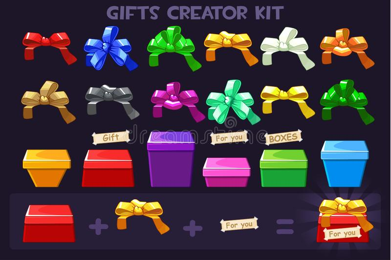 Cartoon Big kit different Box and ribbons bows for creator Gifts, vectors objects. Cartoon Big kit different Box and ribbons bows for creator Gifts, vectors vector illustration