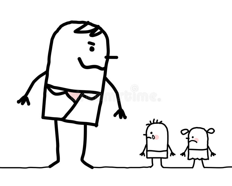 Cartoon big man abusing two small children stock illustration
