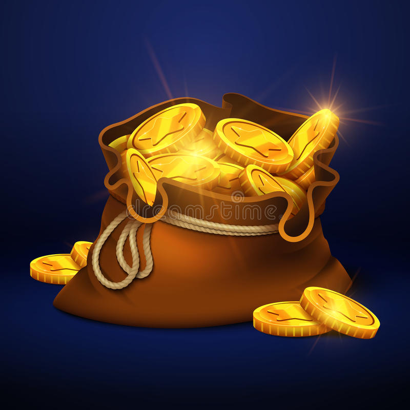 Cartoon big old bag with gold coins. Cash prize vector concept vector illustration