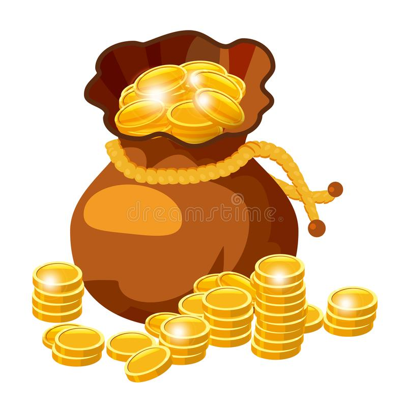Cartoon big old bag with gold coins. Cash prize vector concept. Bag with golden coin, illustration of money, isolared on royalty free illustration