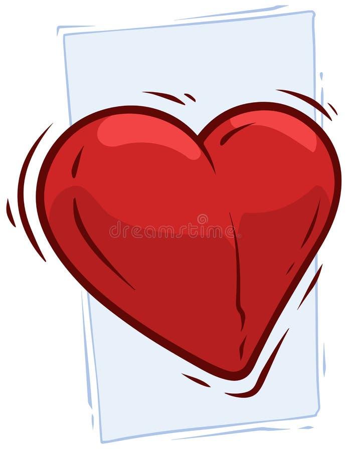 Cartoon big red pulsing cute heart vector icon. Cartoon big red pulsing cute heart on blue background. Vector icon vector illustration