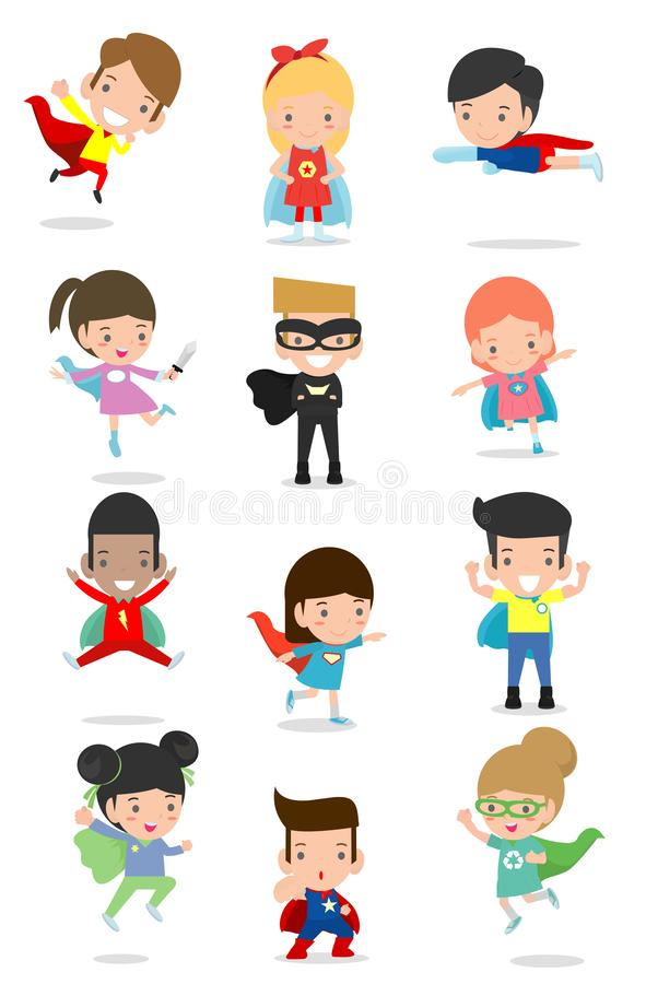 Cartoon big set of Kid Superheroes wearing comics costumes,Kids With Superhero Costumes set, kids in Superhero costume. Characters isolated on white background royalty free illustration