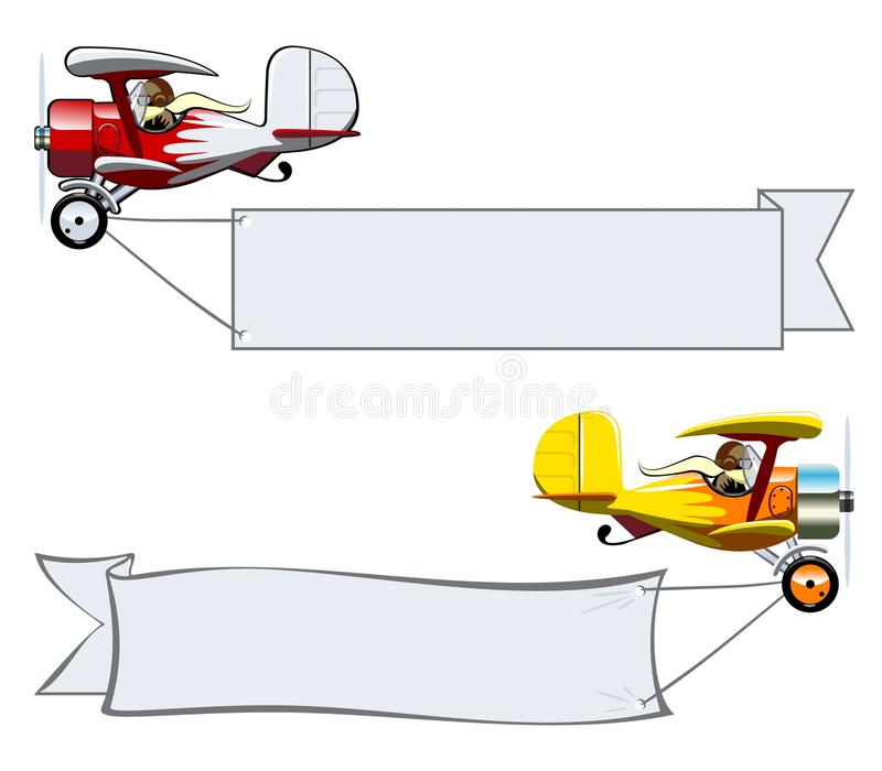Cartoon Biplane. Vector Cartoon Biplane with banner. Available EPS-10 vector format separated by groups and layers for easy edit vector illustration