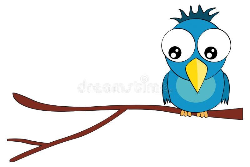 Cartoon bird character on branch isolated on white stock illustration