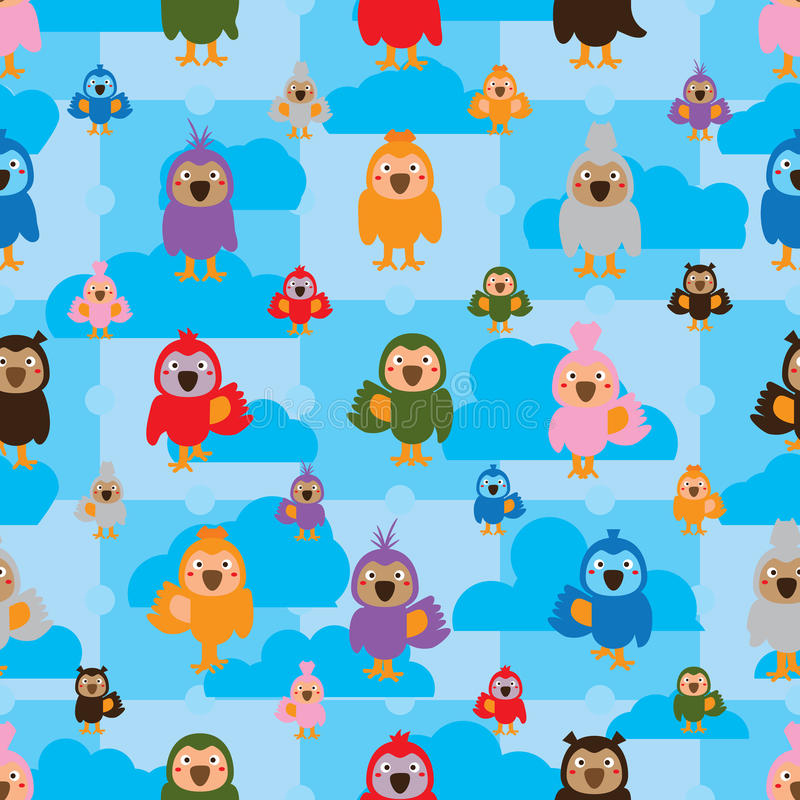 Cartoon bird color symmetry cloud seamless pattern. This illustration is drawing colors bird symmetry with cloud on blue sky color seamless pattern royalty free illustration