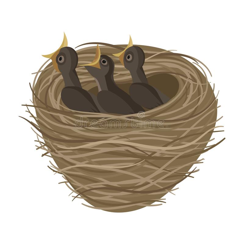 Free Cartoon Bird`s Nest With Chicks. Vector Illustration For Children. Springtime. Royalty Free Stock Photo - 157659705