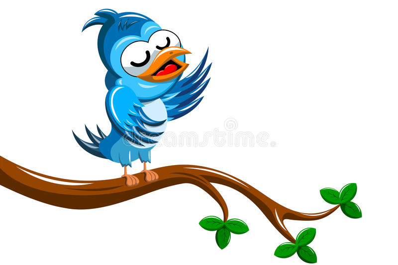 Cartoon Bird Singing on Tree Branch stock illustration
