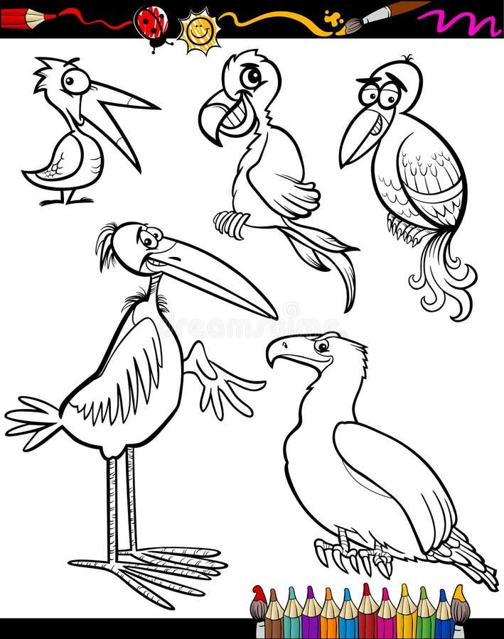 Download Cartoon Birds For Coloring Book Stock Vector