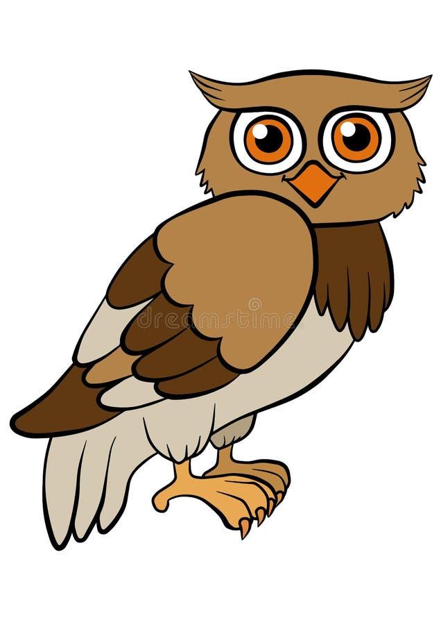 Cartoon Birds For Kids. Little Cute Owl. Stock Vector ...