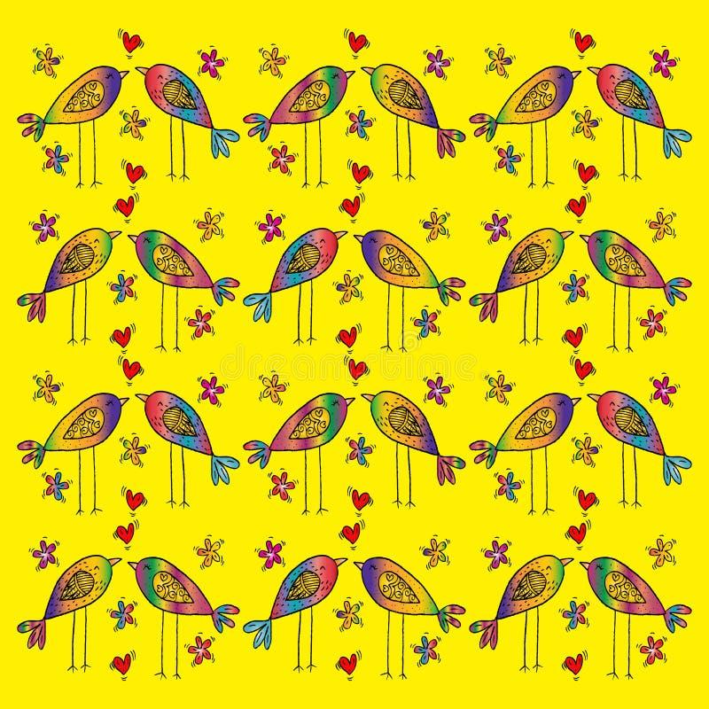 Cartoon birds pattern. Hand drawing illustration vector illustration